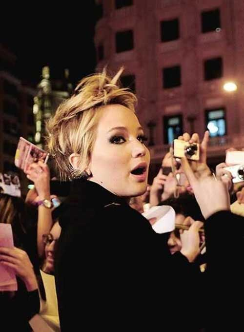 Jennifer Lawrence Short Blonde Pixie Hairstyles
