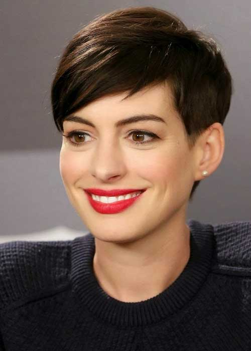 Anne Hathaway Pixie Side Parted