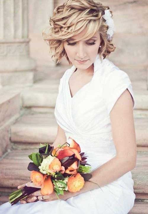 Easy Short Wedding Hairstyles with Wavy Hair