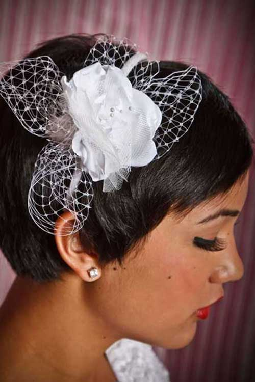 Short Brown Wedding Pixie Hairstyles with Crown