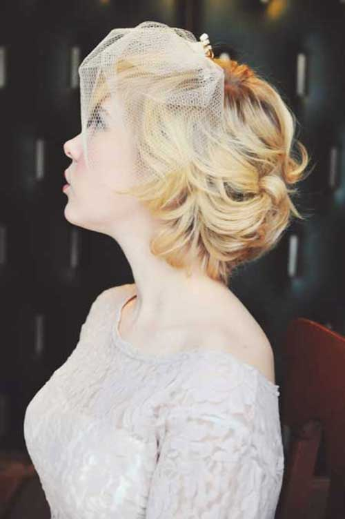 Short Wedding Bob Hairstyles with Birdcage Veil