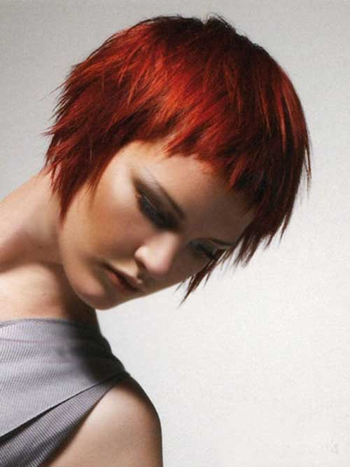 Short Vibrating Red Pixie for Cute Rounded Face