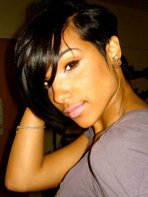 Short Hairstyles for Black Women with Long Bangs