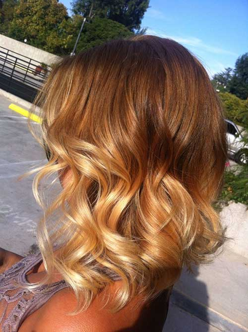 Short and Sassy Ombre Bob Wavy Hairstyles