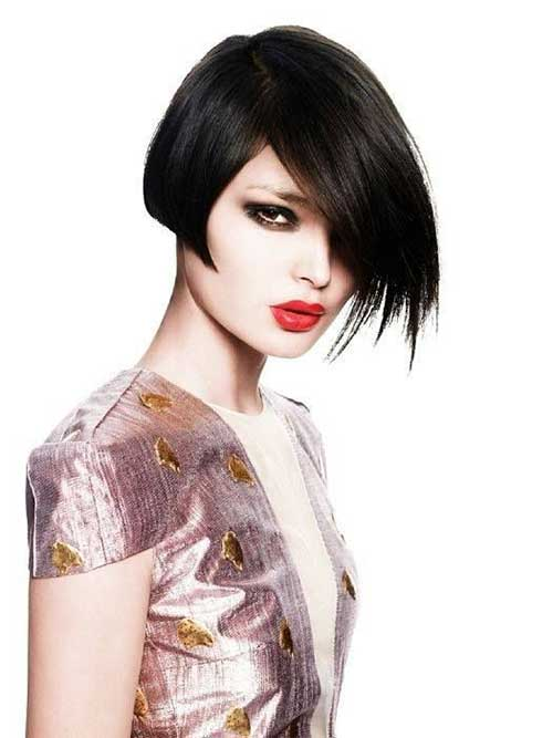Dark Asymmetric Straight Bob Hairstyles