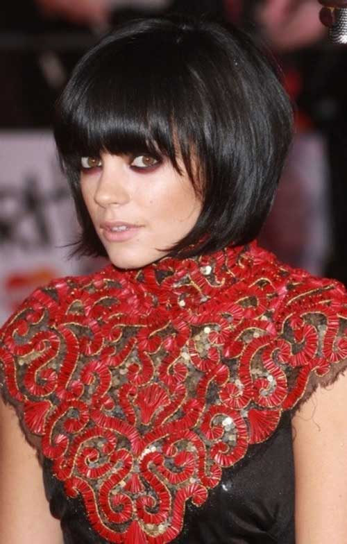 Short Elegant Dark Bob with Bangs