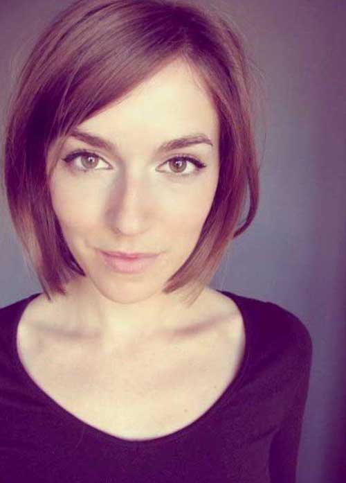 Short Straight Brown Flat Bob Hairdo