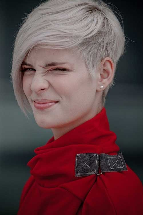 Short Platinum Asymmetric Pixie Hairstyles