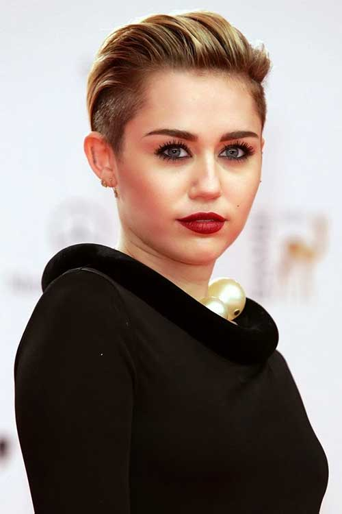 Miley Cyrus Slicked Back Short Hairs