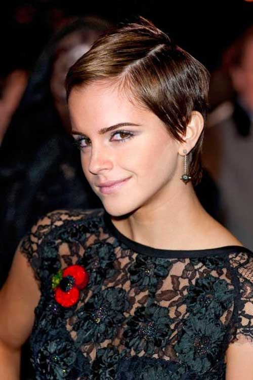 Emma Watson Pixie Cuts with Side Parted