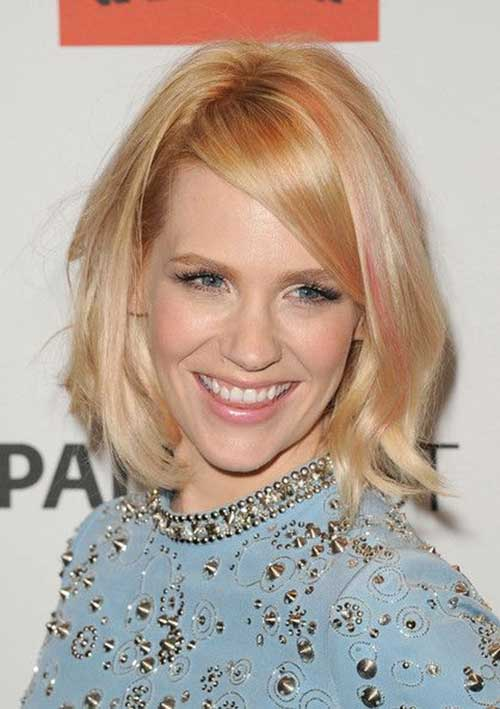 January Jones Pinky Blonde Bob Haircuts