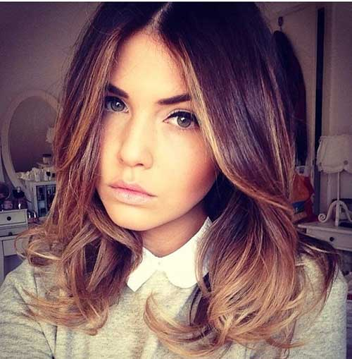 Shoulder Length Brown to Blonde Ombre Hair Color Idea