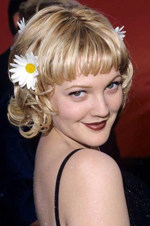 Drew Barrymore Short Blonde Haircuts with Bangs