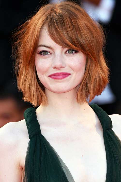 Short Red Messy Bob for Round Face