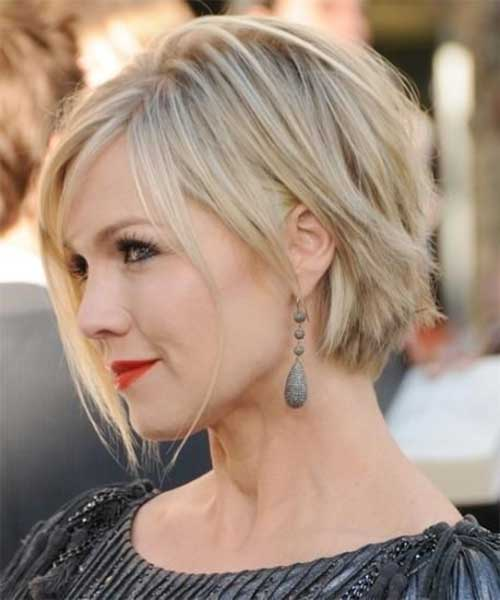 Short Rebellious Blonde Bob for Rounded Faces