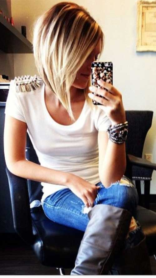 Straight Long Angled Bob Hairstyles