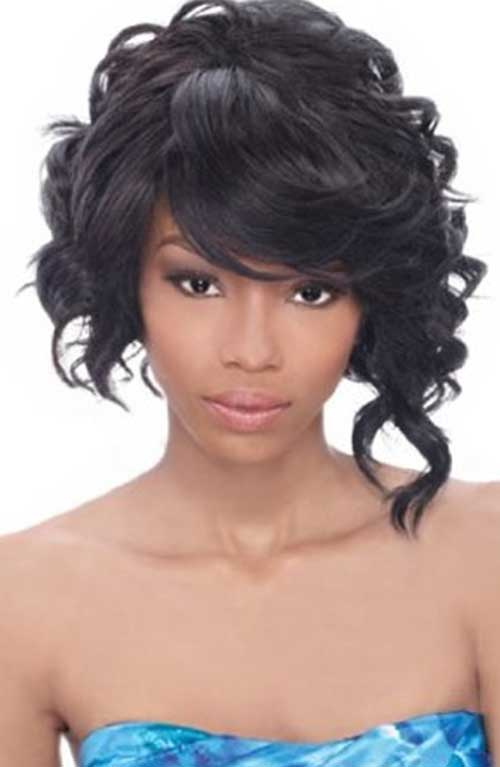 Asymmetric Haircut Curly Styles for Black Women