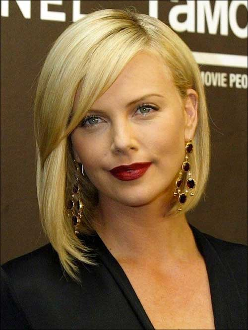Charlize Theron Asymmetrical Bob Haircut