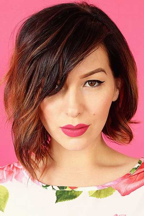 Asymmetrical Bob Wavy with Ombre Color Trends 2015