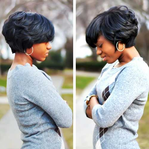 Cute Black Short Wavy Bob Hairstyles