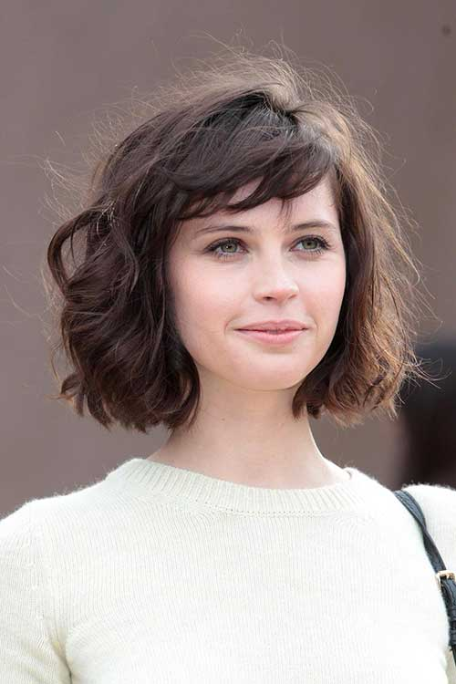 Felicity Jones Thick Bob Hairstyles