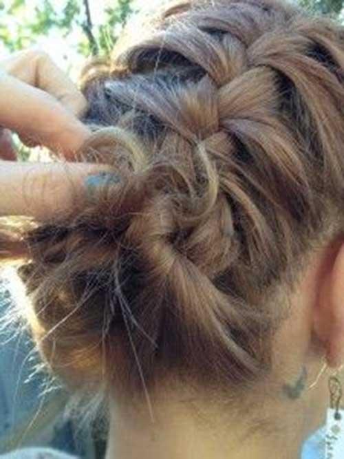 French Braid Short Updo Hair