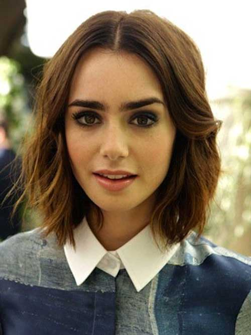 Lily Collins Hair Color Idea for Short Hair