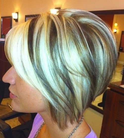 Highlight Brown-Blonde Short Inverted Bob Hairstyles