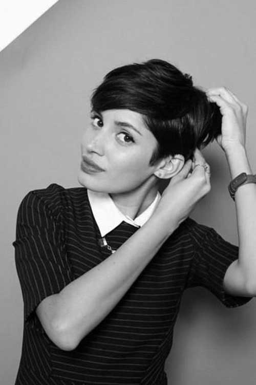 Very Short Pixie Cut Dark Black Hair