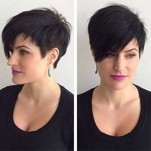 Cool Stylish Short Black Hairstyle with Long Side Swept Bangs