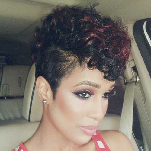 Short Curly Red Lighted Hairstyles for Black Women