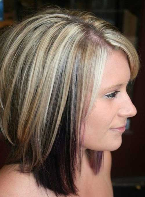 Two Colored Short Hair Blonde Highlights