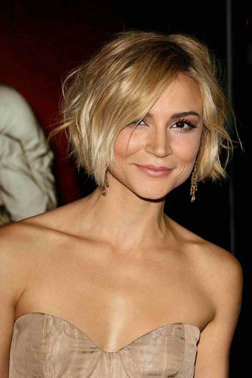Short Messy Bob Blonde Colored