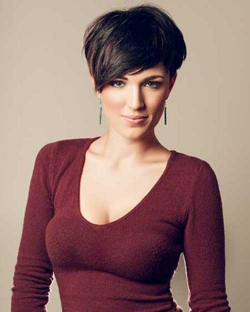 Short Dark Thick Cute Pixie Haircut