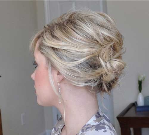 Side Apart Updo Short Hair for Women