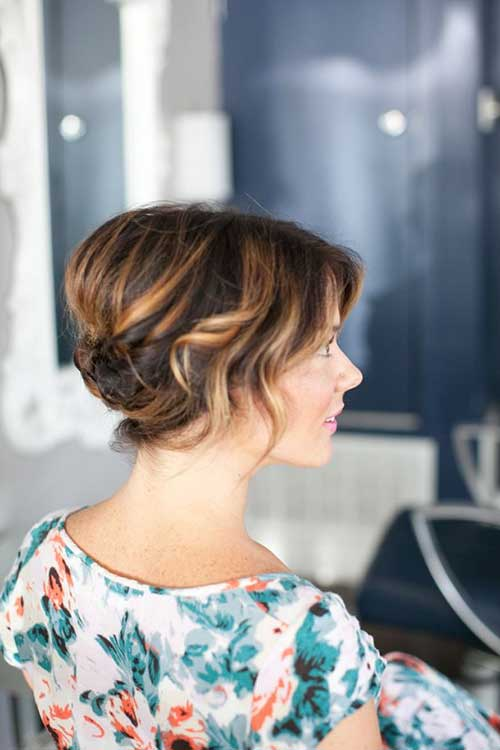 Brown and Blonde Colored Updo for Short Hair