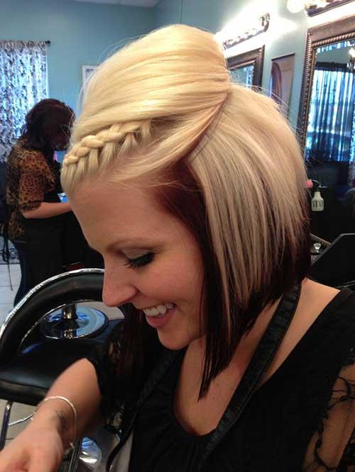 Blonde Brown Hair Updo Braids for Short Haircut