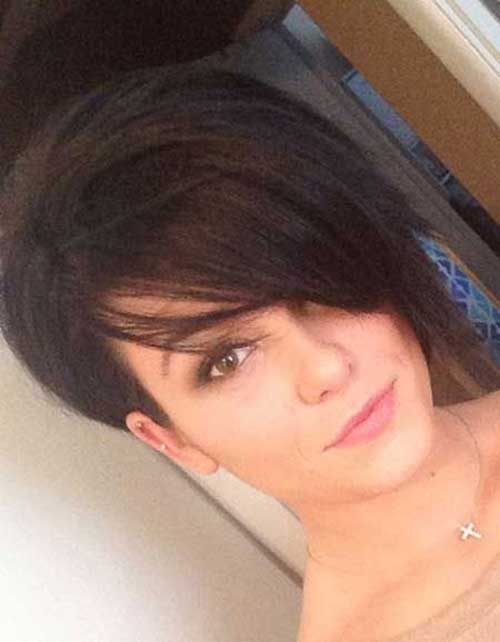 Voluminous Straight Dark Short Pixie