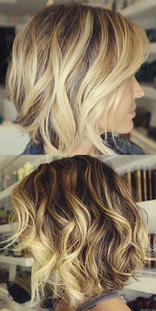 Wavy Blonde Highlighted Bob Hair