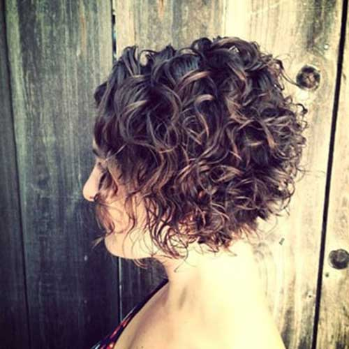 Asymmetrical Curly Hair 2015 Short Bob
