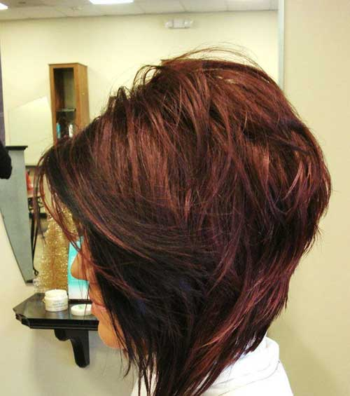 Dark Red Long Inverted Bob Short Hair