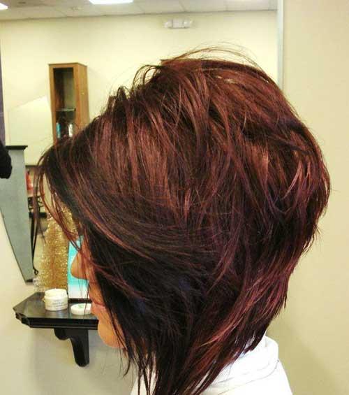 Dark Red Long Inverted Bob Short Hair