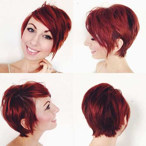 Red Colored Long Pixie Cut