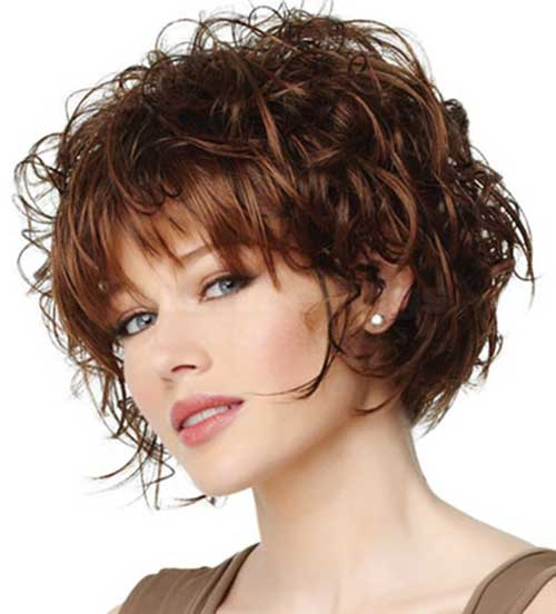 Short Hairstyles with Straight Bangs for Curly Hair