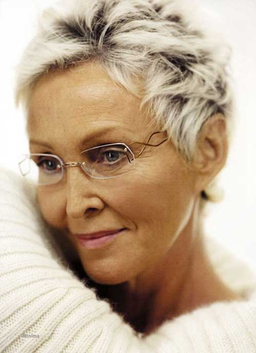 Very Short Pixie Haircut for Older Women
