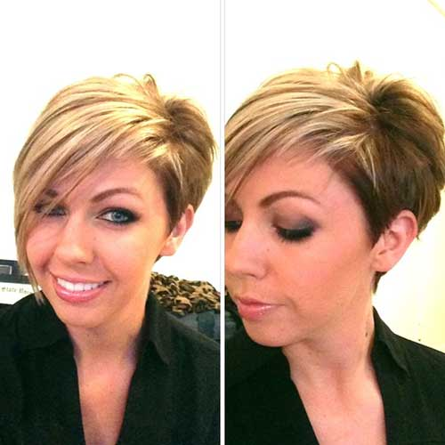 Asymmetrical Short Hair Dark and Blonde Color
