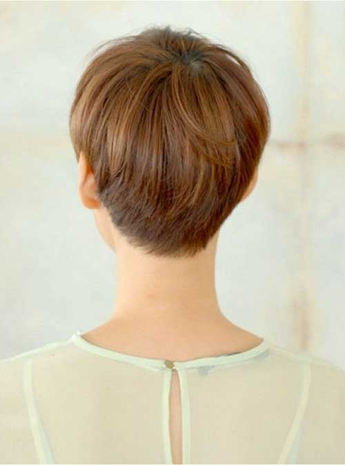 Brown Pixie Hairstyles Back View