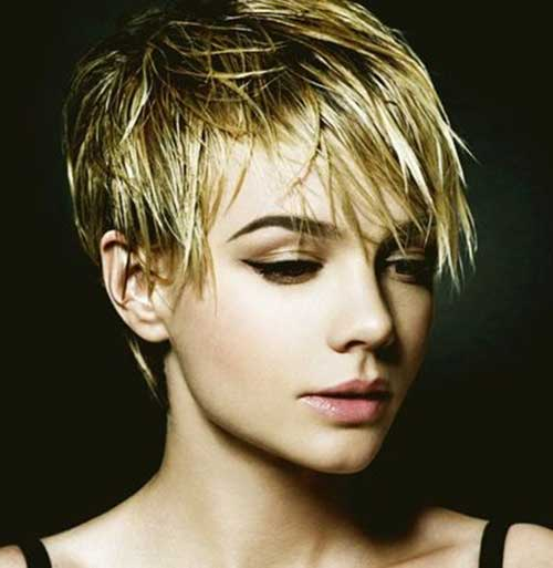 Pixie Cut with Long Shaggy Bangs