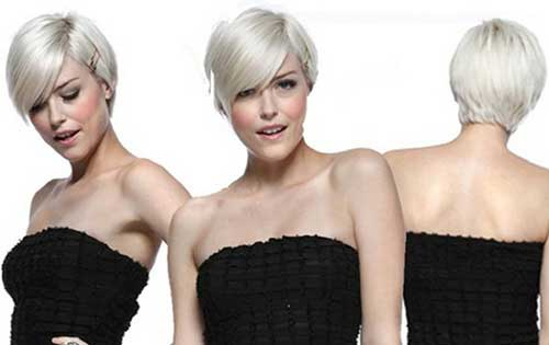 Platinum Pixie Haircut Long Bangs