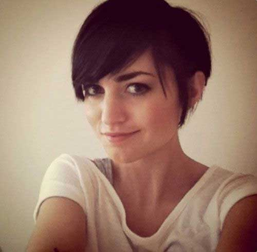 Cute Pixie Haircut with Long Bangs